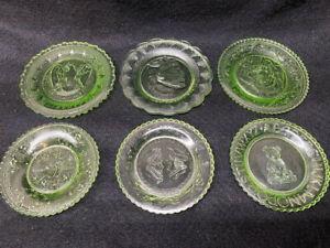 set Green Vaseline glass uranium plates Indian wedding bear ABC eagle heart lot