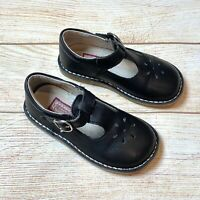 L'amour Girls Sz 8 Black Leather Classic Mary Jane Shoes Toddler EUC