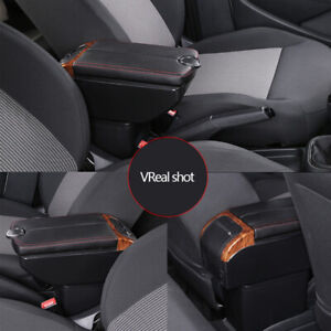 Car Armrest Box Central Console Dual Opening 7 USB Charging Cup Holder Storage