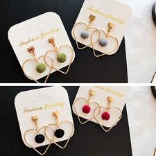 Women Fur Velet Ball Pompom Love Heart Shape Jewelry Charm Pendant Stud Earrings