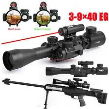 illuminated 3-9X40 EG Tactical Rifle Scope w/ Red Laser & Holographic Dot Sight