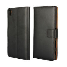 Black Genuine Leather Business Wallet Flip Case Cover Stand For Sony Xperia XA