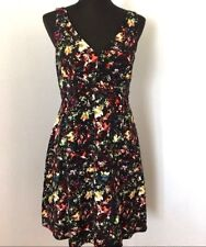 Gap Maternity Dress 4 Black Multi-color Print V-neck Sleeveless 100% Cotton Work