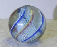 #12357m .87 Inches German Handmade Latticino Swirl Marble Near Mint