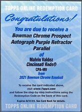 2021 Bowman Chrome MALVIN VALDEZ Prospect PURPLE REFRACTOR AUTO /250 Reds