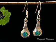 Synthetic Opal & 925 Solid Silver Earrings #49619