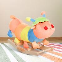 Kids Rocking Horse Plush Colorful Caterpillar Toy Child Wooden Rocker Baby Gift
