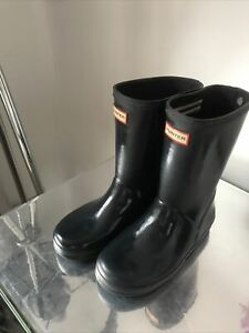 Hunter Wellies Boots Navy Blue Infant Size 12 Water Proof Good Condition