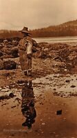 1910/90 EDWARD CURTIS American Indian Nakoaktok Man GOLDTONE Photo Art 11x14