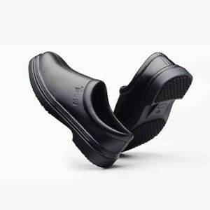 Hot Men's Black Slip Resistant Leather Waterproof Oil Cook in Kitchen Chef Shoes