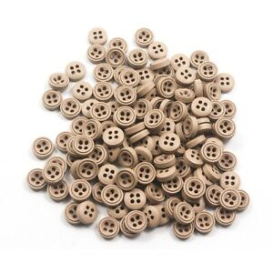 100pcs 9mm Mixed Wooden decor Button For Sewing clothing Scrapbooking Craft US
