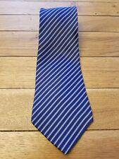 TOMMY HILFIGER Men's Neck Tie Blue Grey Stripes Checks Print 100% Silk