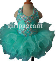 15color Infant/toddler/baby/children  beading Pageant Dress 153-1 with hairbow