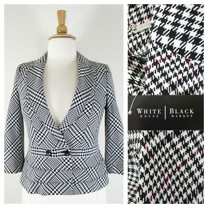 White House Black Market Black Red Plaid Double Breasted Blazer Size 12 NWT $160