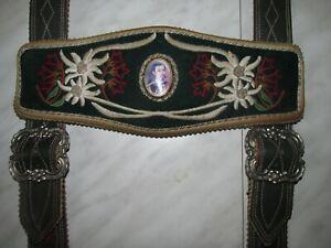 Alte König Ludwig II Echtleder Lederhosen Träger Handbestickt auf Tuch mit Bild