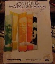 1971 copyright Music Book - Symphonies for Piano Waldo De Los Rios - 40 pgs.