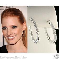 """1"""" Celebrity Circle Prong Set w Swarovski Crystal Round Hoop Huggie Earrings NEW"""
