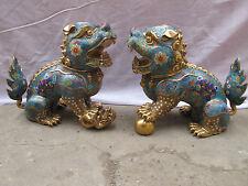 Chinese Royal 100% Bronze Gild cloisonne talisman Fo Dogs Door Lion Animal Pair