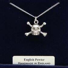 Skull  and Cross Bones Necklace, Fine English Pewter, Handmade, Gift Boxed (wa)