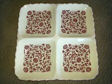 Transferware Serving Platter Vintage Square 4 Divided Plate Red England or Japan