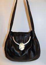 Renato Angi Italy Black Leather Genuine Stone Shoulder Bag