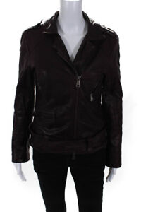 Giorgio Brato Womens Front Zip Quilted Trim Collared Leather Jacket Red IT 44