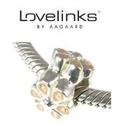 Genuine LOVELINKS 925 Sterling Silver PALE PINK ENAMEL FLOWER spacer charm bead