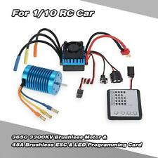 3650 3300KV/4P Motor & 45A ESC & LED Programming Card Combo for 1/10 RC Car P0U0