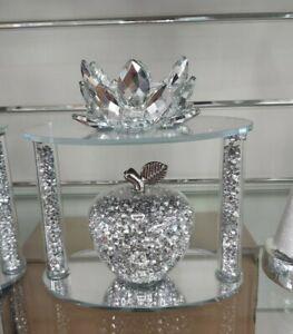 Stunning Crushed Diamond Crystal Filled Apple Shape Tealight Candle Holder Bling
