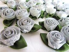 144 Metallic Ribbon Swirl Flower Rose Tulip/Holiday/bow/Craft/sewing F86-Silver