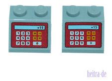 LEGO - 2 x Dachstein 2x2 grigio chiaro con la scritta cassa/3039pb062 Merce Nuova