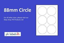 A4 White Multi-Purpose 6 to view 88mm Circle Self adhesive labels (500 Sheets)