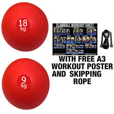 FXR SPORTS RED 9/18KG NO BOUNCE SLAM BALL CROSSFIT MMA FITNESS STRENGTH TRAINING