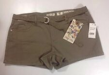 NEW INDIGO REIN Shorts Size 13 Brown Flat Zip Front Lace Belt Stretch Color Pant