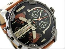 BRAND NEW DIESEL MR DADDY 2.0 57MM CHRONOGRAPH BROWN LEATHER MEN WATCH DZ7332