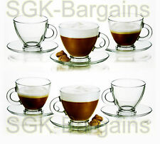 Clear Glass Espresso Coffee Tea Set 6 Cups & 6 Saucers Expresso Glassware 95ml