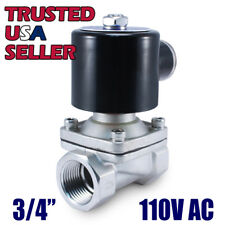 "3/4"" SS 110V AC STAINLESS STEEL Electric Solenoid Valve Water Gas Air 120 Volt"