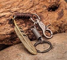 Cool Vintage Brass Feather Pendant Leather Key Ring Keychain Key Holders Mens