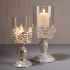 PILLAR CANDLE HOLDERS  GLASS DOME HOLDER DECORATIVE CHRISTMAS