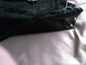 Leather Crocodile Shoulder Bag - made in Italy