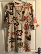 JL23 Boden Beige Pink Brown Floral Linen Dress 3/4 Sleeves Petite UK6