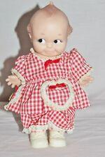 """Vintage 10"""" Cameo Kewpie Hard Vinyl Doll 1974 Dressed Red/White Jlk Original"""