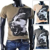 Mens Cipo & Baxx T-Shirt 100% Cotton Crew Neck Wolf Print Khaki Orange SALE