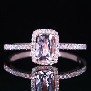 Elegant Bridal Engagement Fine Ring Morganite Diamonds Gemstones 18K Rose Gold