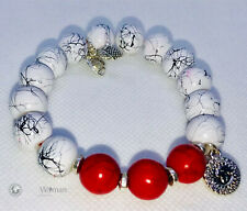 Red Turquoise with Hand Painted 12MM Beads Bracelet