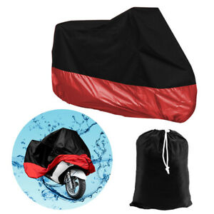 Motorcycle Motorbike Cover Waterproof UV Protective + Carry Bag XL Red Black
