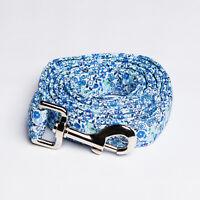Cotton Dog Leash Lead - Blue Floral Flower Pattern - 2 Sizes 4.4 Feet / 5 Feet