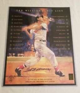 Ted Williams Autographed 16x20 Hit List Poster