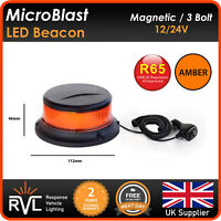 R65 MICRO MAGNETIC AMBER LED BEACON Flashing Warning Strobe light bar 12/24v