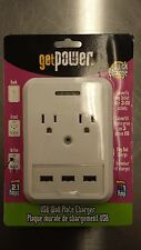 Get Power USB Wall Plate Quick Charger GP-3USB-AC-AC